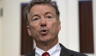 In this April 18, 2018, file photo, Sen. Rand Paul, R-Ky., speaks on Capitol Hill in Washington. On May 17, the Senate rejected an attempt by Paul to force a debate on sweeping budget cuts and federal deficits that are growing despite a strong economy. (AP Photo/J. Scott Applewhite, File)