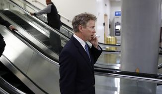 Sen. Rand Paul, R-Ky., departs after a vote on Gina Haspel to be CIA director, on Capitol Hill, Thursday, May 17, 2018, file in Washington. (AP Photo/Alex Brandon)