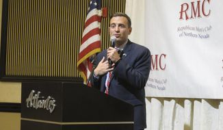 RETRANSMISSION TO CORRECT FIRST NAME TO ADAM - Attorney General Adam Laxalt speaks at a luncheon sponsored by the Republican Men's Club of Northern Nevada, Thursday, May 17, 2018 in Reno, Nev. He urged about 50 attendees to rally around his gubernatorial campaign as the best way to fend off what he described as overzealous, California-style regulations that would undermine Nevada's conservative principles and future economic growth. (AP Photo/Scott Sonner)