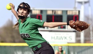 In this April 27, 2018 photo, Meridian High School starting pitcher Rylie Casey, wearing  protective mask, pitches against Central A&M High School in Macon, Ill. Mount Zion High School softball pitcher Ally Bruner was not wearing a protective mask when she was hit just above the right eye with a softball during a game on April 21. She received three titanium plates and 25 screws in her head from a line drive that struck her. Her injury sparked conversation from softball teams area-wide about players wearing protective masks. (Clay Jackson/Herald & Review via AP)