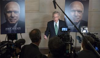 Senate Majority Leader Mitch McConnell, R-Ky., and other lawmakers stop by an event on Capitol Hill during the debut a documentary film about Sen. John McCain, in Washington, Thursday, May 17, 2018. McCain, currently away from the Senate, was diagnosed in last July with glioblastoma, an aggressive form of brain cancer. (AP Photo/J. Scott Applewhite)
