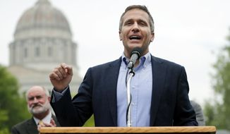 Missouri Gov. Eric Greitens speaks to a small group of supporters announcing the release of funds for the state's biodiesel program Thursday, May 17, 2018, in Jefferson City, Mo. (AP Photo/Jeff Roberson)