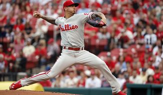 Philadelphia Phillies starting pitcher Vince Velasquez throws during the first inning of the team's baseball game against the St. Louis Cardinals on Thursday, May 17, 2018, in St. Louis. (AP Photo/Jeff Roberson)