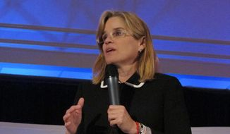 "Carmen Yulin Cruz, the mayor of San Juan, Puerto Rico, speaks in Hartford, Conn. on Thursday, May 17, 2018, after receiving the ""Latina Champion"" award at the annual Latinas & Power Symposium, which promotes Hispanic professional women. (AP Photo/Pat Eaton-Robb) ** FILE **"