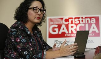 In this Friday, April 27, 2018 photo, California Assemblywoman Cristina Garcia, D-Bell Gardens, poses for picture at her campaign headquarters in Downey, Calif.  Outside investigators on Thursday, May 17, cleared the California assemblywoman who was once at the forefront of the state's #MeToo movement of allegations that she groped a male staff member in 2014.  Garcia is still facing discipline for using vulgar language in violation of the chamber's sexual harassment policy. (AP Photo/Damian Dovarganes)