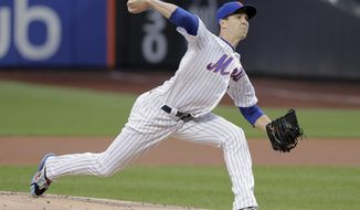 New York Mets pitcher Jacob deGrom delivers against the Arizona Diamondbacks during the first inning of a baseball game, Friday, May 18, 2018, in New York. (AP Photo/Julie Jacobson)