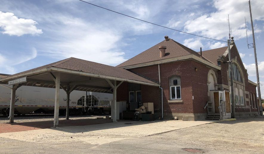 This May 17, 2018 photo shows The Mason City, Iowa depot on Pennsylvania Avenue.  City Canadian Pacific Railroad intends to demolish the depot later this month.  (Arian Schuessler /Globe-Gazette via AP)