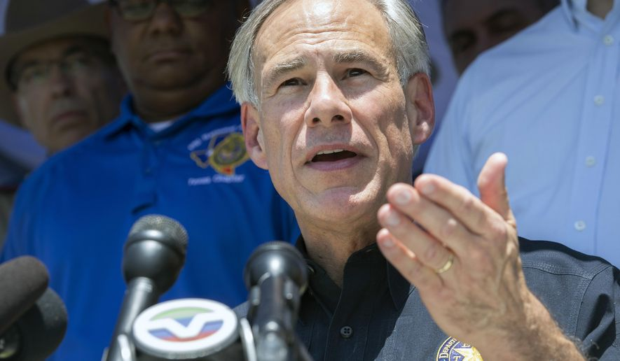 Texas Governor Greg Abbott speaks during a press conference in the wake of a school shooting at Santa Fe High School on Friday, May 18, 2018 in Santa Fe, Texas. (Stuart Villanueva/The Galveston County Daily News via AP)