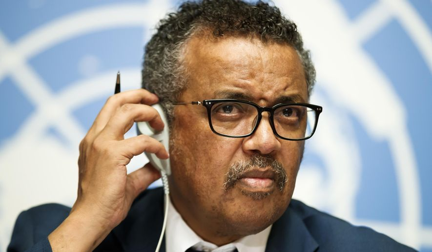 Tedros Adhanom Ghebreyesus, director general of the World Health Organization (WHO), attends a press conference at the European headquarters of the United Nations in Geneva, Switzerland, Friday, May 18, 2018. The WHO Director-General answered questions ahead of the World Health Assembly and following the meeting of an International Health Regulations Emergency Committee on Ebola in the Democratic Republic of the Congo. (Valentin Flauraud/Keystone via AP)