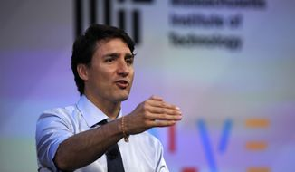 Prime Minister Justin Trudeau speaks during the Massachusetts Institute of Technology's Solve conference at MIT in Cambridge, Mass., Friday, May 18, 2018. The Solve initiative connects innovators with corporate, government and academic resources to help them tackle world problems. (AP Photo/Charles Krupa)
