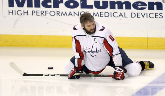 Washington Capitals left wing Alex Ovechkin warms up prior to Game 5 of the team's NHL hockey Eastern Conference finals against the Tampa Bay Lightning on Saturday, May 19, 2018, in Tampa, Fla. (AP Photo/Jason Behnken)