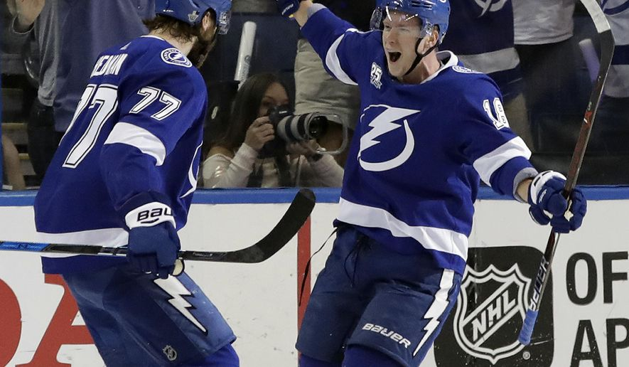 Tampa Bay Lightning left wing Ondrej Palat (18) celebrates with defenseman Victor Hedman (77) after Palat scored against the Washington Capitals during the first period of Game 5 of the NHL Eastern Conference finals hockey playoff series Saturday, May 19, 2018, in Tampa, Fla. (AP Photo/Chris O'Meara)