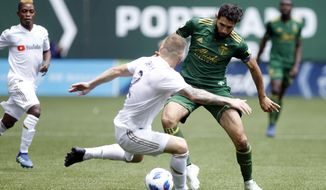 Portland Timbers' Diego Valeri (8) tries to dribble past LAFC's Jordan Harvey (2) during an MLS soccer game, Saturday, May 19, 2018, in in Portland, Ore. (Sean Meagher//The Oregonian via AP)