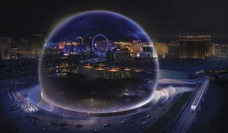This conceptual rendering released by Madison Square Garden shows a transparent look theme exterior of the MSG Sphere Las Vegas arena. An 18,000-seat, sphere-shaped venue that will host concerts and other entertainment events on the Las Vegas Strip will break ground this summer. The Madison Square Garden Company on Friday, May 18, 2018, revealed details of the project it is developing in partnership with Las Vegas Sands, which operates two casino-resorts adjacent to the planned arena. (Madison Square Garden via AP)