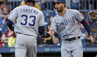 San Diego Padres' Franchy Cordero (33) celebrates with Eric Hosmer after they scored on a double by Jose Pirela off Pittsburgh Pirates starting pitcher Nick Kingham during the first inning of a baseball game in Pittsburgh, Saturday, May 19, 2018. (AP Photo/Gene J. Puskar)