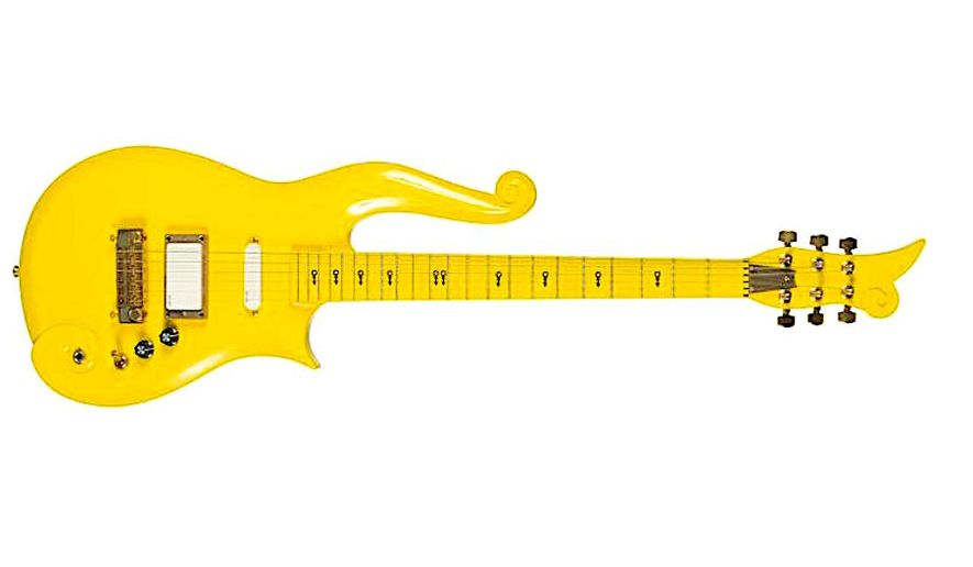 """Prince's iconic yellow """"Cloud"""" guitar fetched $225,000 at auction on Friday. It was expected to only bring in $60,000 and is part of a """"Music Icons"""" series organized by Julien's Auctions. (Image from Julien's Auctions)"""