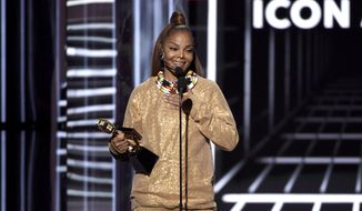 Janet Jackson accepts the Icon award at the Billboard Music Awards at the MGM Grand Garden Arena on Sunday, May 20, 2018, in Las Vegas. (Photo by Chris Pizzello/Invision/AP)