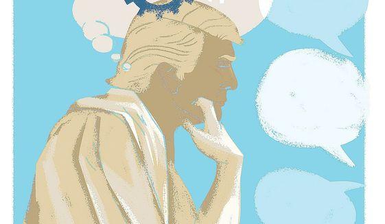 Illustration on Trump's Socratic method by Linas Garsys/The Washington Times