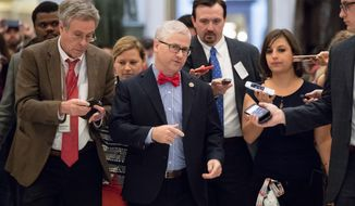 House Chief Deputy Whip Rep. Patrick T. McHenry (center), North Carolina Republican, said the conservatives' move to link immigration language to the farm bill would backfire. (Associated Press/File)