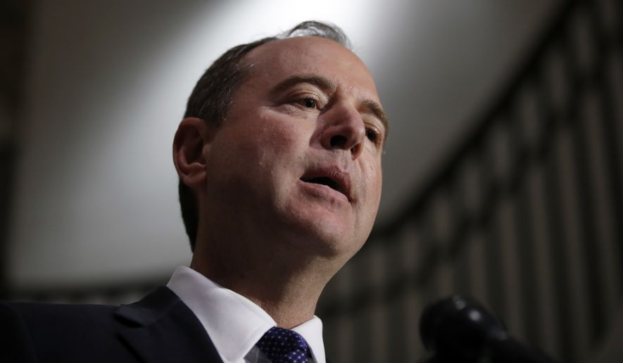 Rep. Adam Schiff, D-Calif., ranking member of the House Committee on Intelligence, speaks during a media availability after a closed-door meeting of the House Intelligence Committee on Capitol Hill, Monday, Feb. 5, 2018 in Washington. (AP Photo/Alex Brandon)