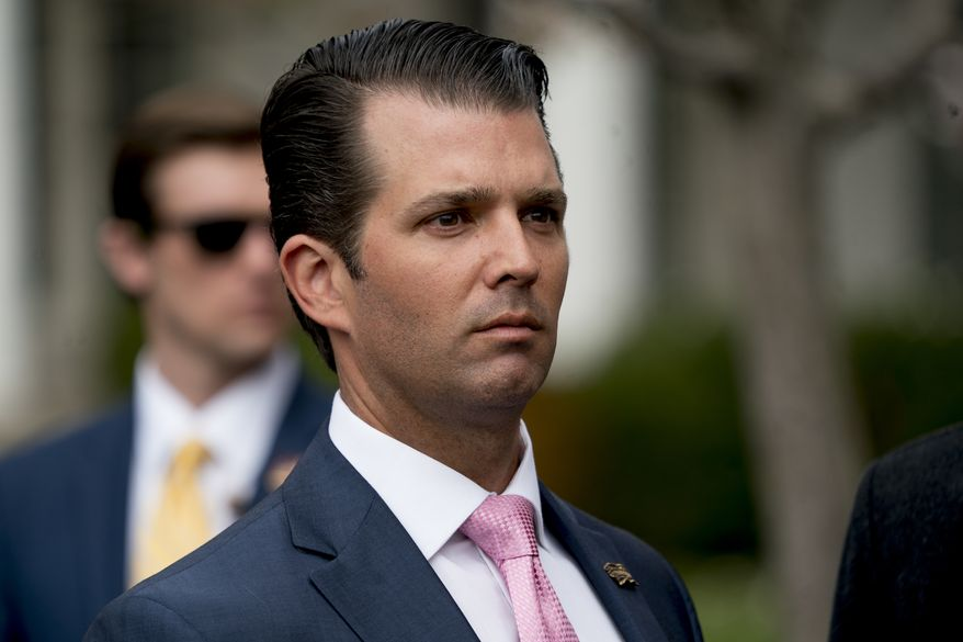 Donald Trump Jr., the son of President Donald Trump arrives for the annual White House Easter Egg Roll on the South Lawn of the White House in Washington, Monday, April 2, 2018. (AP Photo/Andrew Harnik)