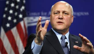 FILE - In this June 16, 2017, file photo, New Orleans Mayor Mitch Landrieu speaks in Washington on race in America and his decision to take down Confederate monuments in his city. Landrieu will be presented Sunday, May 20, 2018, with the 2018 John F. Kennedy Profile in Courage Award for standing behind his decision to take down four monuments. (AP Photo/Jacquelyn Martin, File)