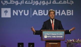 Former U.S. Secretary of State, John Kerry, talks during the New York University Abu Dhabi (NYUAD) fifth edition of the Commencement Exercises, in Abu Dhabi, United Arab Emirates, Sunday, May 20, 2018. (AP Photo/Kamran Jebreili)