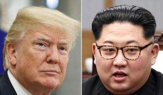 In this combination of file photos, U.S. President Donald Trump, left, in the Oval Office of the White House in Washington on May 16, 2018,  and North Korean leader Kim Jong-un in a meeting with South Korean leader Moon Jae-in in Panmunjom, South Korea, on April 27, 2018. (AP Photo/Evan Vucci, Korea Summit Press Pool via AP,  File)