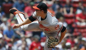 Baltimore Orioles' David Hess pitches during the first inning of a baseball game against the Boston Red Sox in Boston, Sunday, May 20, 2018. (AP Photo/Michael Dwyer)