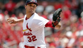 St. Louis Cardinals starting pitcher Jack Flaherty throws during the first inning of a baseball game against the Philadelphia Phillies, Sunday, May 20, 2018, in St. Louis. (AP Photo/Jeff Roberson)