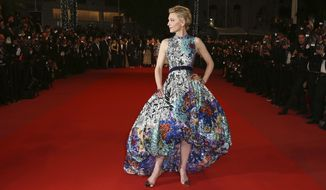 """Jury president Cate Blanchett wears a blue floral gown by Mary Katrantzou at the premiere of """"Cold War"""" at the 71st international film festival, Cannes, southern France, Thursday, May 10, 2018. (Photo by Joel C Ryan/Invision/AP)"""