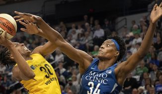 Minnesota Lynx Sylvia Fowles, right, defends Nneka Ogwumike of the Los Angeles Sparks, left, in the first quarter of a WNBA basketball game Sunday, May 20, 2018, Minneapolis, Minn.  (Carlos Gonzalez /Star Tribune via AP)
