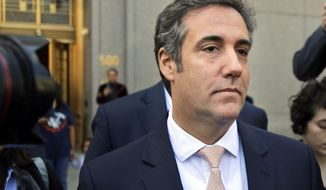 FILE - In this April 26, 2018 file photo, Michael Cohen leaves federal court in New York City. Criminal investigators are finally getting to study materials seized in raids on the home and office of President Donald Trump's personal lawyer, Cohen. Their ability to work with the results of the raid were delayed for weeks after attorneys for the attorney, Cohen, went to Manhattan federal court to get a role in deciding what should be subject to attorney-client privilege. (AP Photo/Seth Wenig, File)