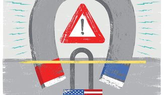 Illustration on the EMP threat by Linas Garsys/The Washington Times