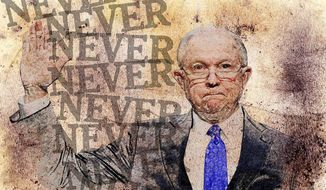 Sessions Oath Illustration by Greg Groesch/The Washington Times