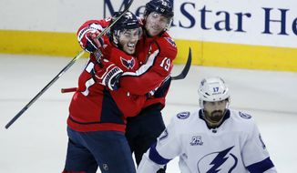 Washington Capitals right wing T.J. Oshie, left, and center Nicklas Backstrom, from Sweden, celebrate a goal by Oshie with Tampa Bay Lightning left wing Alex Killorn (17) nearby during the second period of Game 6 of the NHL Eastern Conference finals hockey playoff series, Monday, May 21, 2018, in Washington. (AP Photo/Alex Brandon) ** FILE **