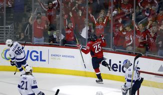 Washington Capitals right wing Devante Smith-Pelly (25) celebrates his goal past Tampa Bay Lightning goaltender Andrei Vasilevskiy (88), from Russia, during the third period of Game 6 of the NHL Eastern Conference finals hockey playoff series, Monday, May 21, 2018, in Washington. The Capitals won 3-0. (AP Photo/Alex Brandon) **FILE**