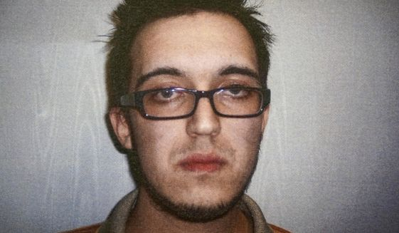 This April 14, 2014, file booking photo released by the North Berkshire District Court in North Adams, Mass., shows Alexander Ciccolo, charged with drunken driving. The son of a Boston police captain, Ciccolo was arrested July 4, 2015, in Adams, Mass., and accused of plotting a terrorist attack on a college campus to support the Islamic State group. He is expected to plead guilty Monday, May 21, 2018, in federal court in Springfield, Mass. (Northern Berkshire District Court via AP, File)