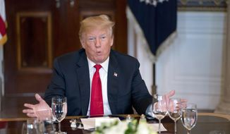 President Donald Trump speaks during a meeting with governors in the Blue Room of the White House in Washington, Monday, May 21, 2018, to discuss border security and restoring safe communities. (AP Photo/Andrew Harnik)