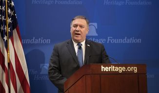 "Secretary of State Mike Pompeo speaks at the Heritage Foundation, a conservative public policy think tank, in Washington, Monday, May 21, 2018. Pompeo issued a steep list of demands Monday that he said should be included in a nuclear treaty with Iran to replace the Obama-era deal, threatening ""the strongest sanctions in history"" if Iran doesn't change course.  (AP Photo/J. Scott Applewhite)"