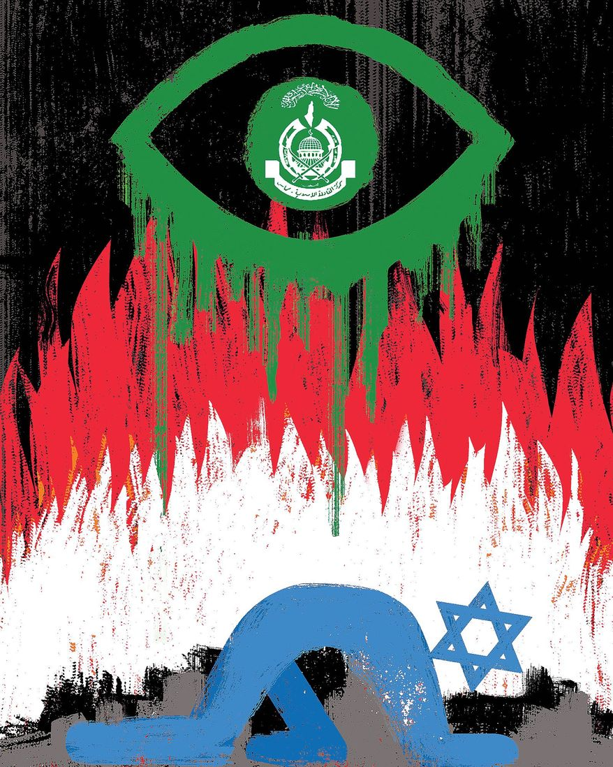 Illustration on Hamas' goals towards Israel nby Linas Garsys/The Washington Times