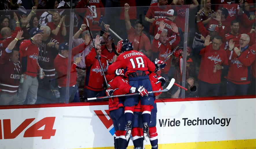 """Washington Capitals forward Chandler Stephenson is considered by coach Barry Trotz to be a """"Swiss Army knife because he's played almost every position except goaltender for us."""" He had a plus-13 rating in the regular season. (ASSOCIATED PRESS)"""