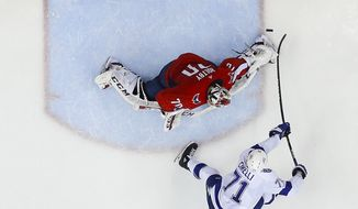 Washington Capitals goaltender Braden Holtby (70) stops a shot by Tampa Bay Lightning center Anthony Cirelli (71) during the second period of Game 6 of the NHL Eastern Conference finals hockey playoff series, Monday, May 21, 2018, in Washington. Capitals won 3-0. (AP Photo/Pablo Martinez Monsivais)