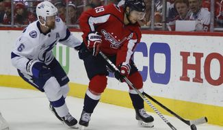 Washington Capitals center Nicklas Backstrom (19), from Sweden and Tampa Bay Lightning defenseman Anton Stralman (6), from Sweden chase the puck during the second period of Game 6 of the NHL Eastern Conference finals hockey playoff series, Monday, May 21, 2018, in Washington. (AP Photo/Pablo Martinez Monsivais) ** FILE **