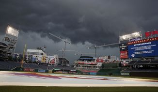 Fans are asked to take cover as a storm moves into the area before a baseball game between the Washington Nationals and the San Diego Padres at Nationals Park, Tuesday, May 22, 2018, in Washington. (AP Photo/Alex Brandon)