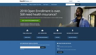 This screen grab shows the main page of the healthcare.gov website in Washington, on Monday, May 21, 2018. A major government survey finds that the U.S. clung to its health insurance gains last year, a surprise after President Donald Trump's repeated attempts to dismantle Obamacare. The survey from the Centers for Disease Control and Prevention is out May 22, and finds that 9.1 percent of Americans were uninsured in 2017, or a little more than 29 million people. (HealthCare.gov via AP)