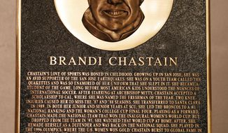 """In this photo taken Monday May 21, 2018, Bay Area Sports Hall of Hame inductee Brandi Chastain's plaque is displayed during a press conference in San Francisco. Social media is finding little to like about the likeness on a plaque honoring retired soccer champion Chastain. The Bay Area Sports Hall of Fame in San Francisco unveiled the plaque on Monday night. Chastain diplomatically said """"it's not the most flattering. But it's nice."""" (Scott Strazzante/San Francisco Chronicle via AP)"""