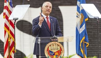 Louisiana Gov. John Bel Edwards delivers his opening address for the special legislative session at the Earl K. Long Gymnasium on the campus of the University of Louisiana-Lafayette, Tuesday, May 22, 2018, in Lafayette, La. (Scott Clause /The Daily Advertiser via AP)