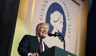 President Donald Trump speaks at the Susan B. Anthony List 11th Annual Campaign for Life Gala at the National Building Museum, Tuesday, May 22, 2018, in Washington. (AP Photo/Andrew Harnik) ** FILE **