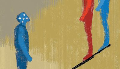 Illustration on U.S. leverage with North Korea and Iran by Linas Garsys/The Washington Times